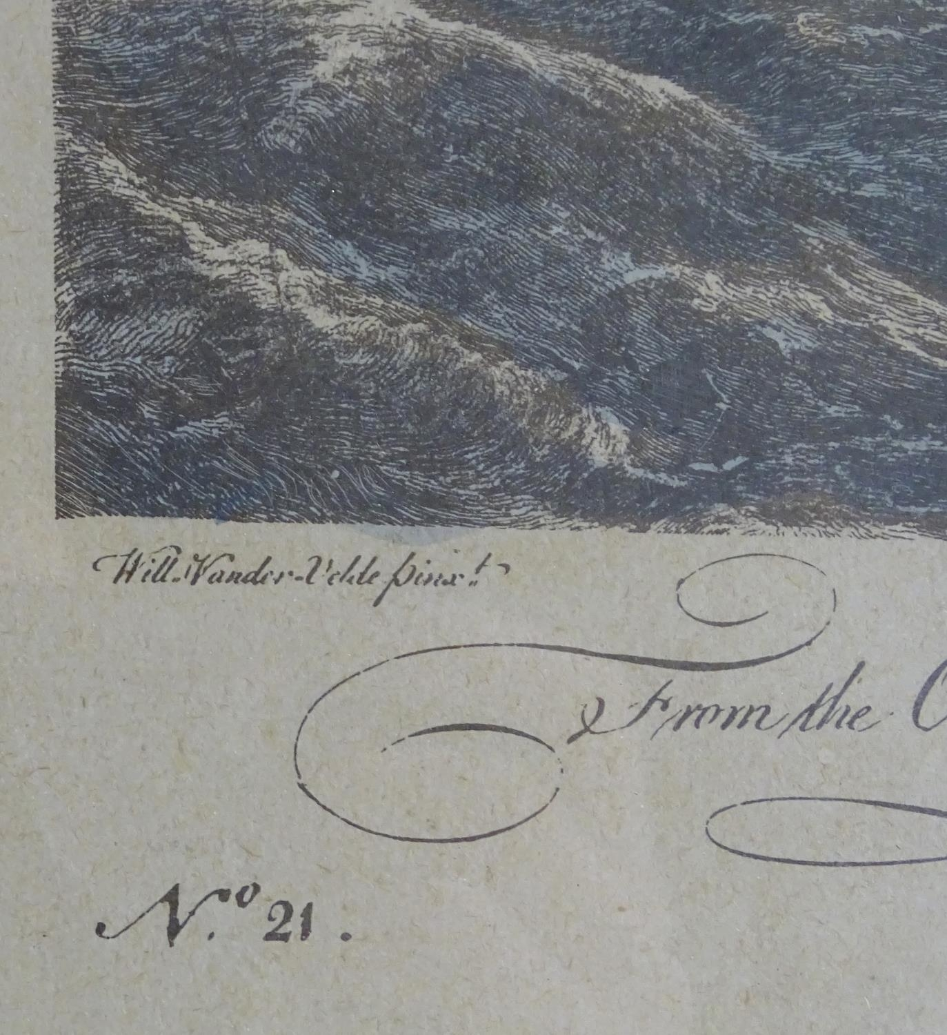 P. C. Canot, after Willem van de Velde, Two hand coloured engravings, A Brisk Gale, depicting a - Image 7 of 8
