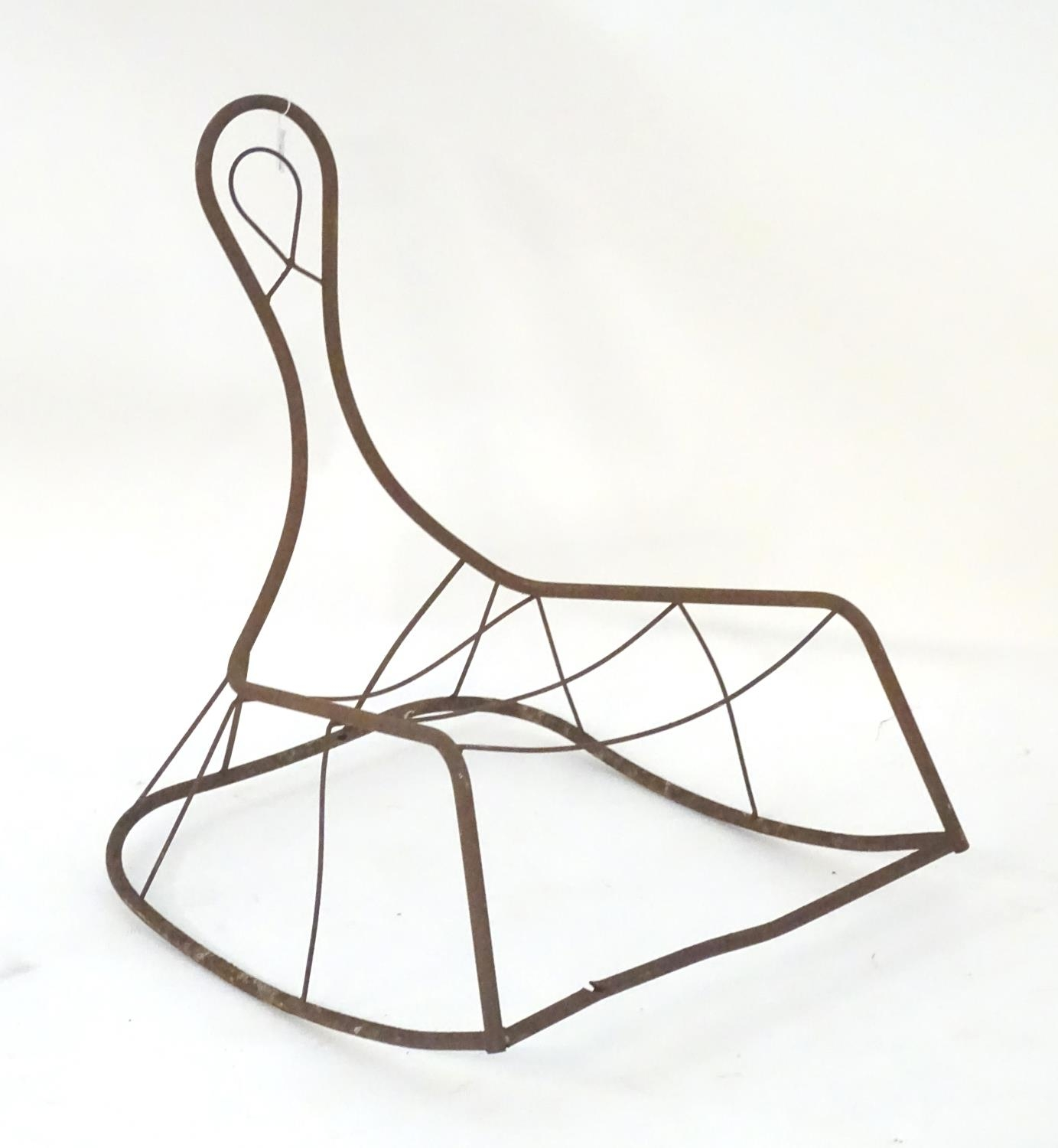 Garden & Architectural, Salvage: a mid-20thC metal rocking chair frame, suitable for use as a