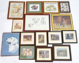 A quantity of dog pictures, to include a print by Tony Byrne. Please Note - we do not make reference