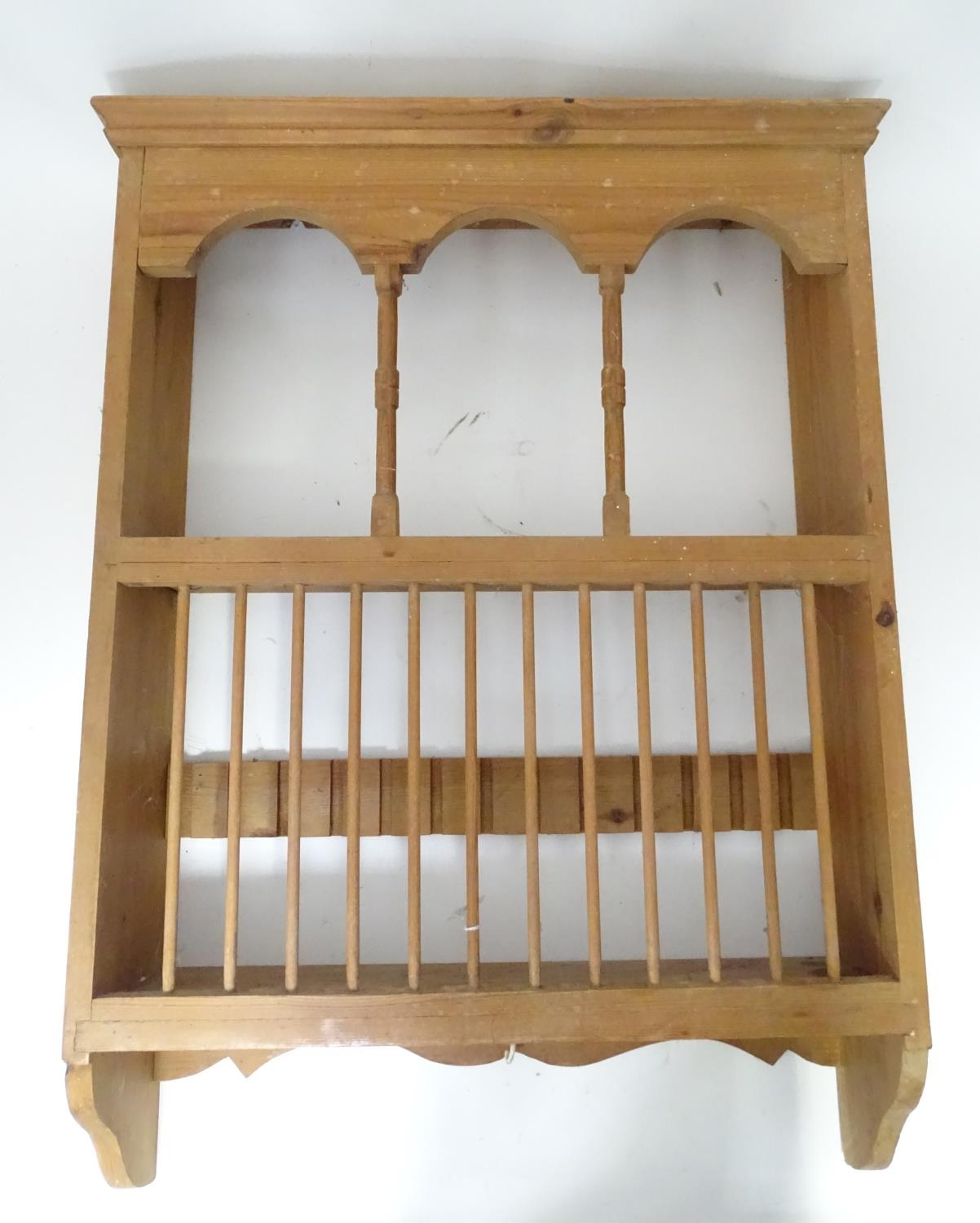 A pine plate rack together with a three tier buffet (2) Please Note - we do not make reference to - Image 4 of 9