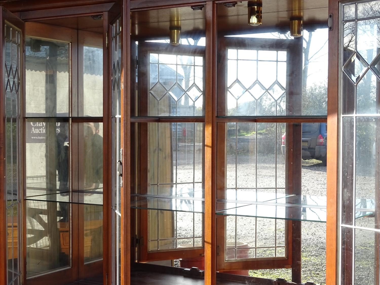 """A large 20thC glazed and mirrored display cabinet. Approx. 83"""" tall Please Note - we do not make - Image 6 of 7"""
