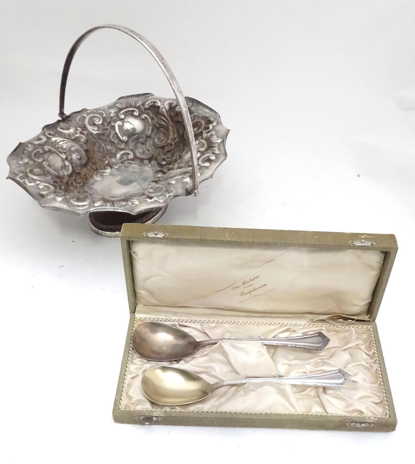 A silver plated bowl together with 2 spoons Please Note - we do not make reference to the