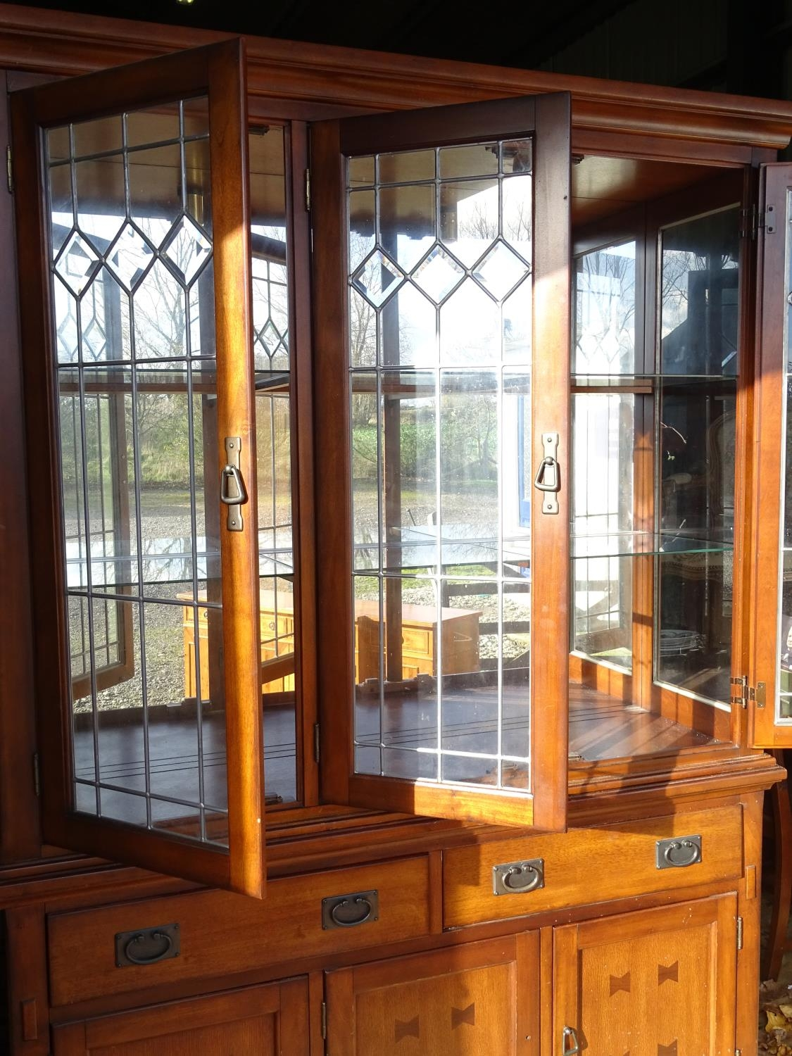 """A large 20thC glazed and mirrored display cabinet. Approx. 83"""" tall Please Note - we do not make - Image 5 of 7"""