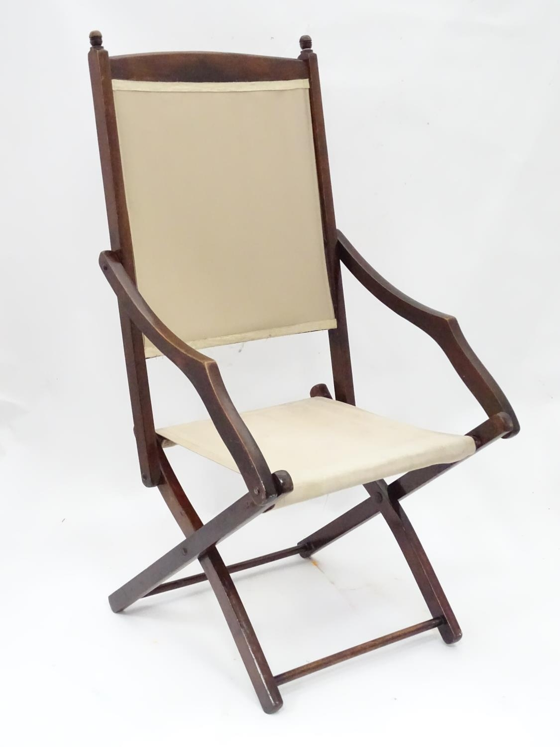 """A folding campaign / deck chair. Approx. 41"""" tall Please Note - we do not make reference to the - Image 5 of 5"""