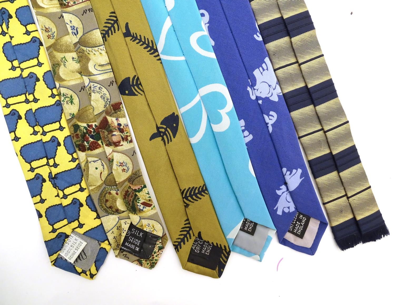Vintage clothing/ fashion: 6 silk ties in various colours and patterns by Yves Saint Laurent, Nicole - Image 2 of 10