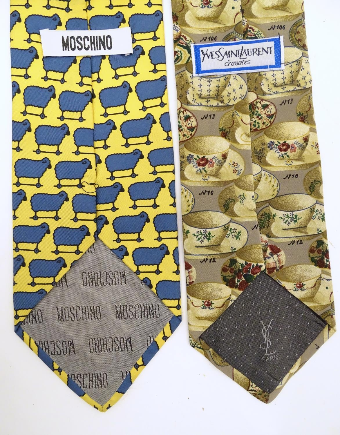 Vintage clothing/ fashion: 6 silk ties in various colours and patterns by Yves Saint Laurent, Nicole - Image 8 of 10
