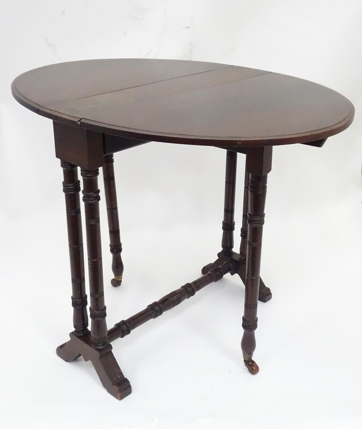 """A 19thC Sutherland table with an oval top. Approx. 29"""" wide Please Note - we do not make reference - Image 3 of 8"""