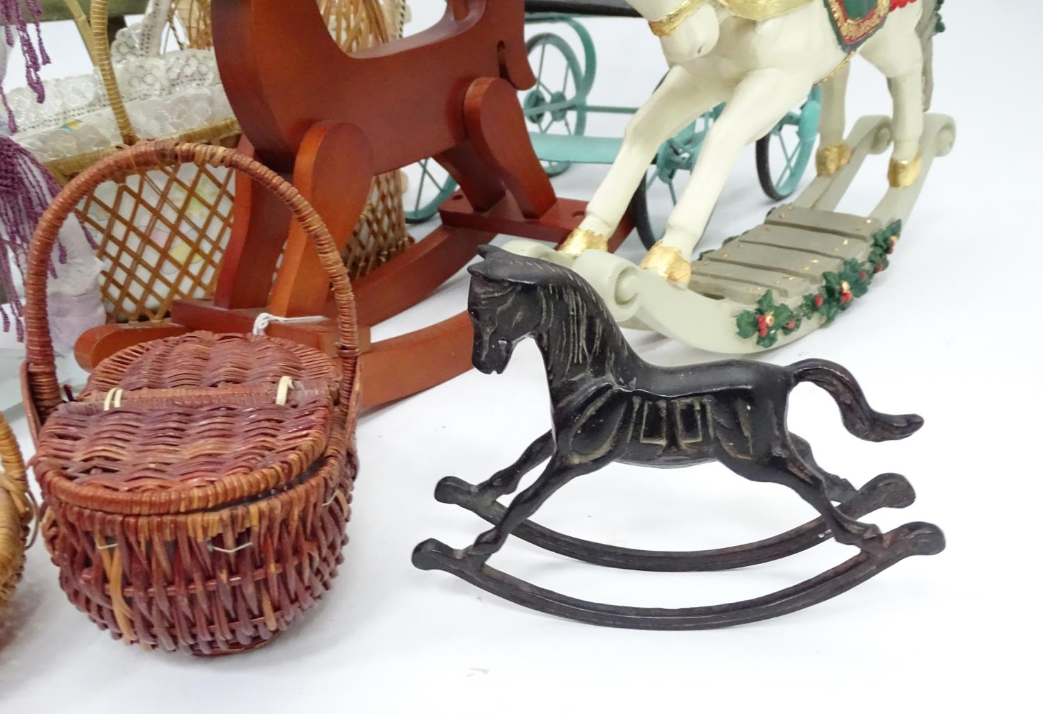A quantity of dolls items to include a pram, smalls chairs, stool, etc. Please Note - we do not make - Image 5 of 11
