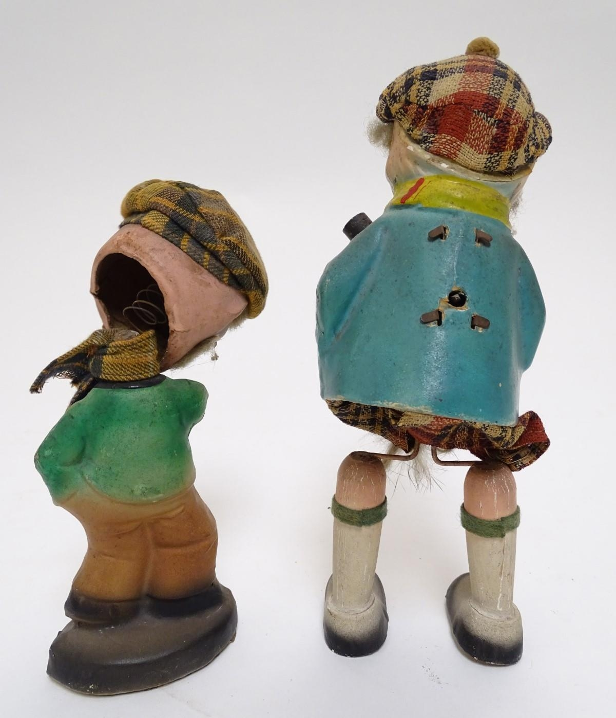 Toys: Two unusual novelty humorous Scottish figures made of pressed card. A wind up toy modelled - Image 7 of 9