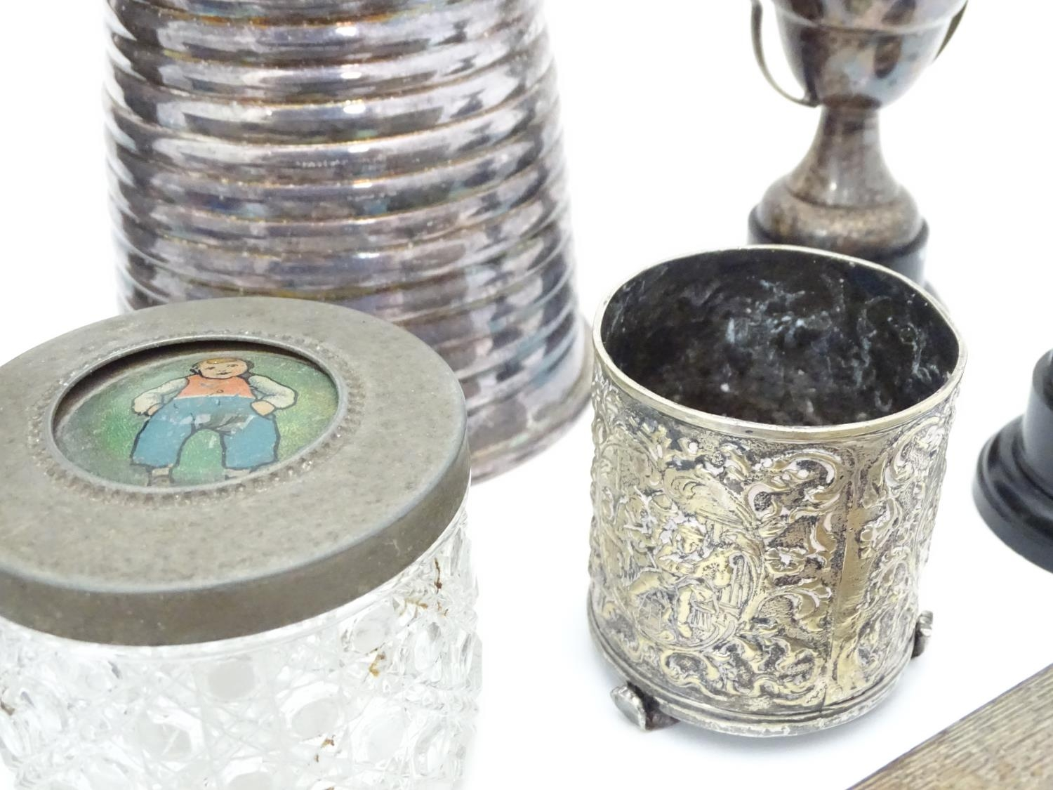 A quantity of silver plated items to include cutlery, cigarette box, trophy, coffee pot, candle - Image 4 of 6