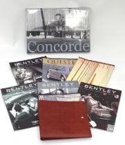A leather folder embossed with the Bentley car logo. Together with some Bentley magazines and a book