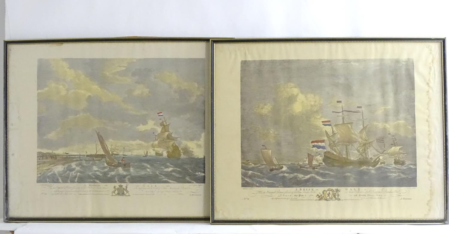 P. C. Canot, after Willem van de Velde, Two hand coloured engravings, A Brisk Gale, depicting a