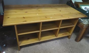 A pine coffee table / TV stand with shelves Please Note - we do not make reference to the
