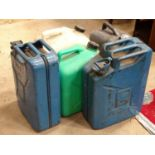 5 Assorted Jerry cans, 2 stamped WD 1945 ( with MOD broad arrow mark) Please Note - we do not make