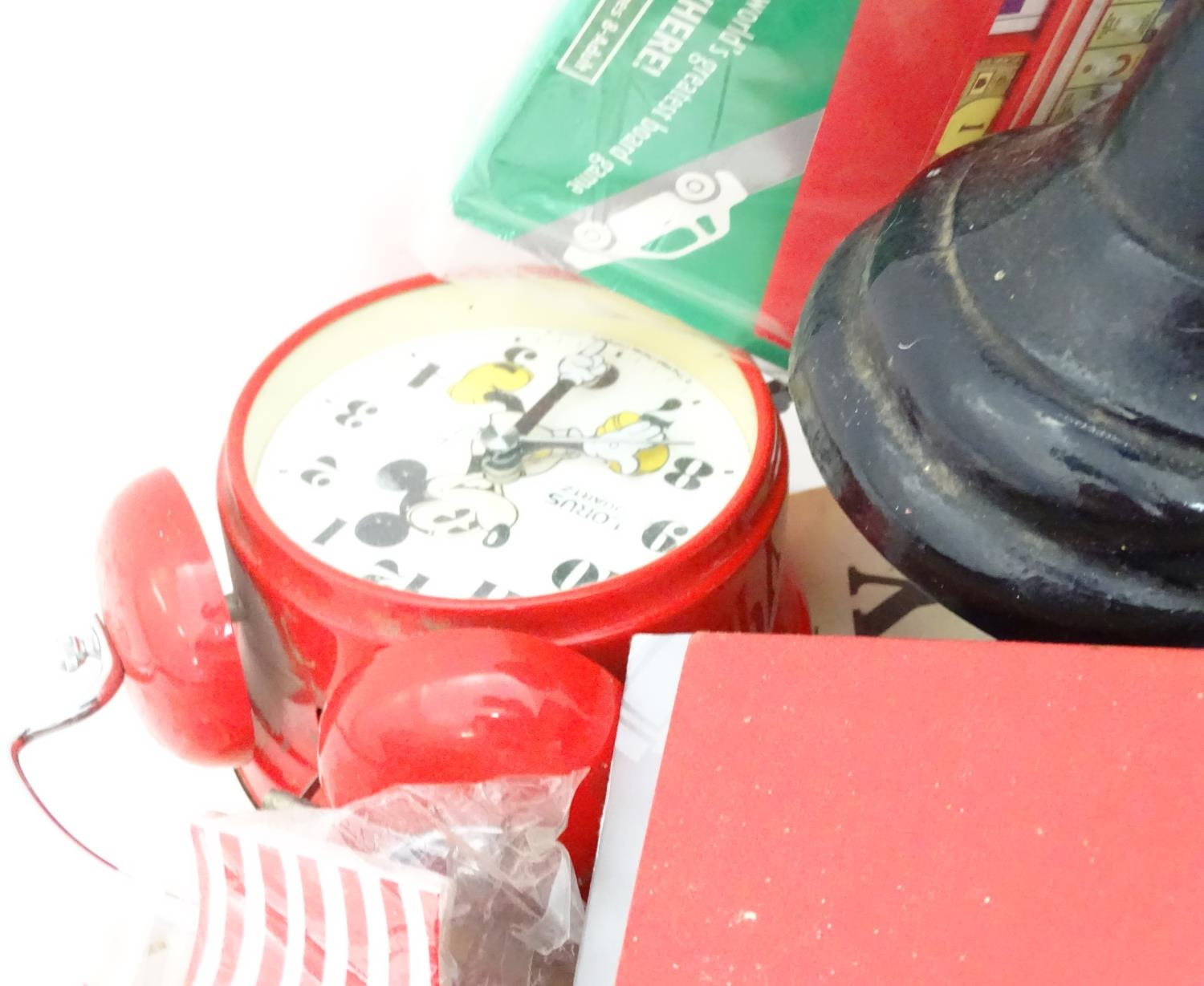 A box of miscellaneous items to include a large vanity case, scales, Mickey Mouse clock, etc. Please - Image 2 of 4