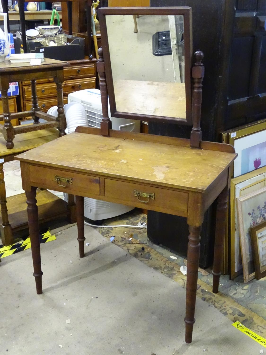 """A late 19th / early 20thC mahogany dressing table with two drawers and a mirror. Approx. 56"""" tall. - Image 4 of 7"""