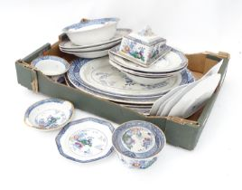 A quantity of Booths china in the Netherlands pattern, to include graduated oval serving dishes,
