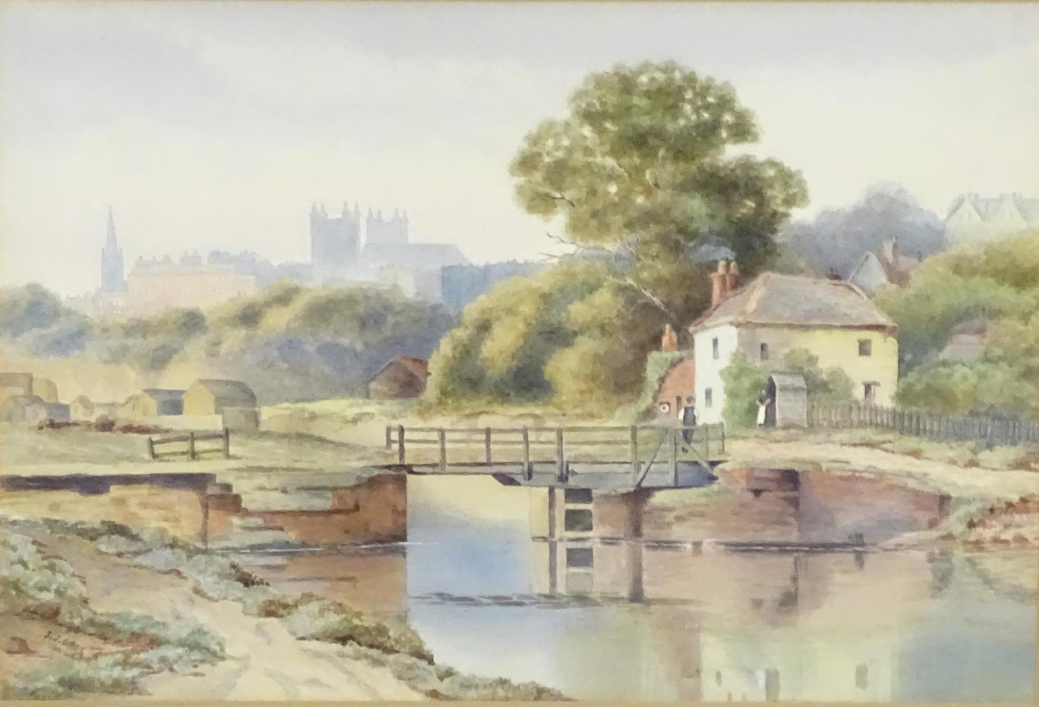 J. J. Bibby, Early 20thC, English School, Watercolour, Exeter from the Canal. Signed and dated