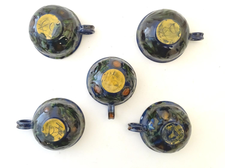 A quantity of Kahler Keramik Danish studio pottery tea wares, comprising a teapot and four cups - Image 25 of 30