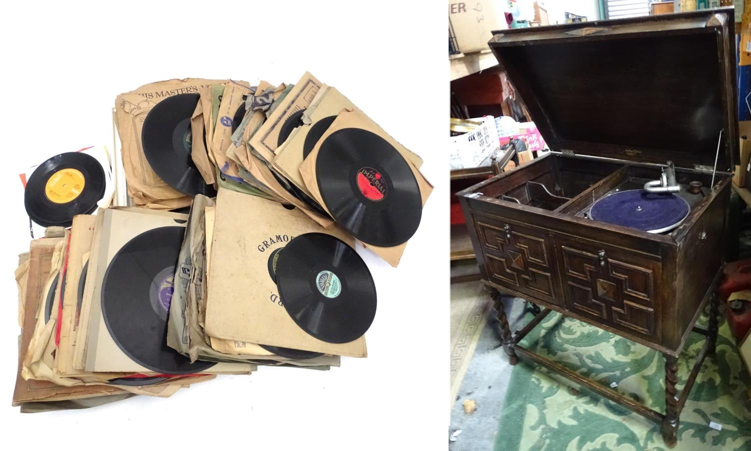 An oak cased wind up gramophone. Together with a quantity of records Please Note - we do not make