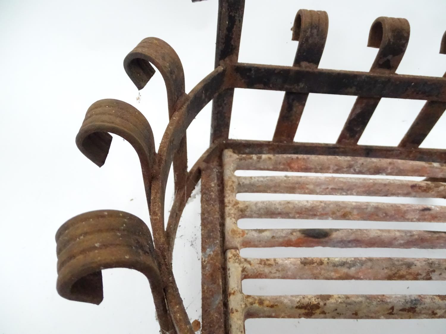 A cast iron fire basket with scroll decoration Please Note - we do not make reference to the - Image 6 of 6