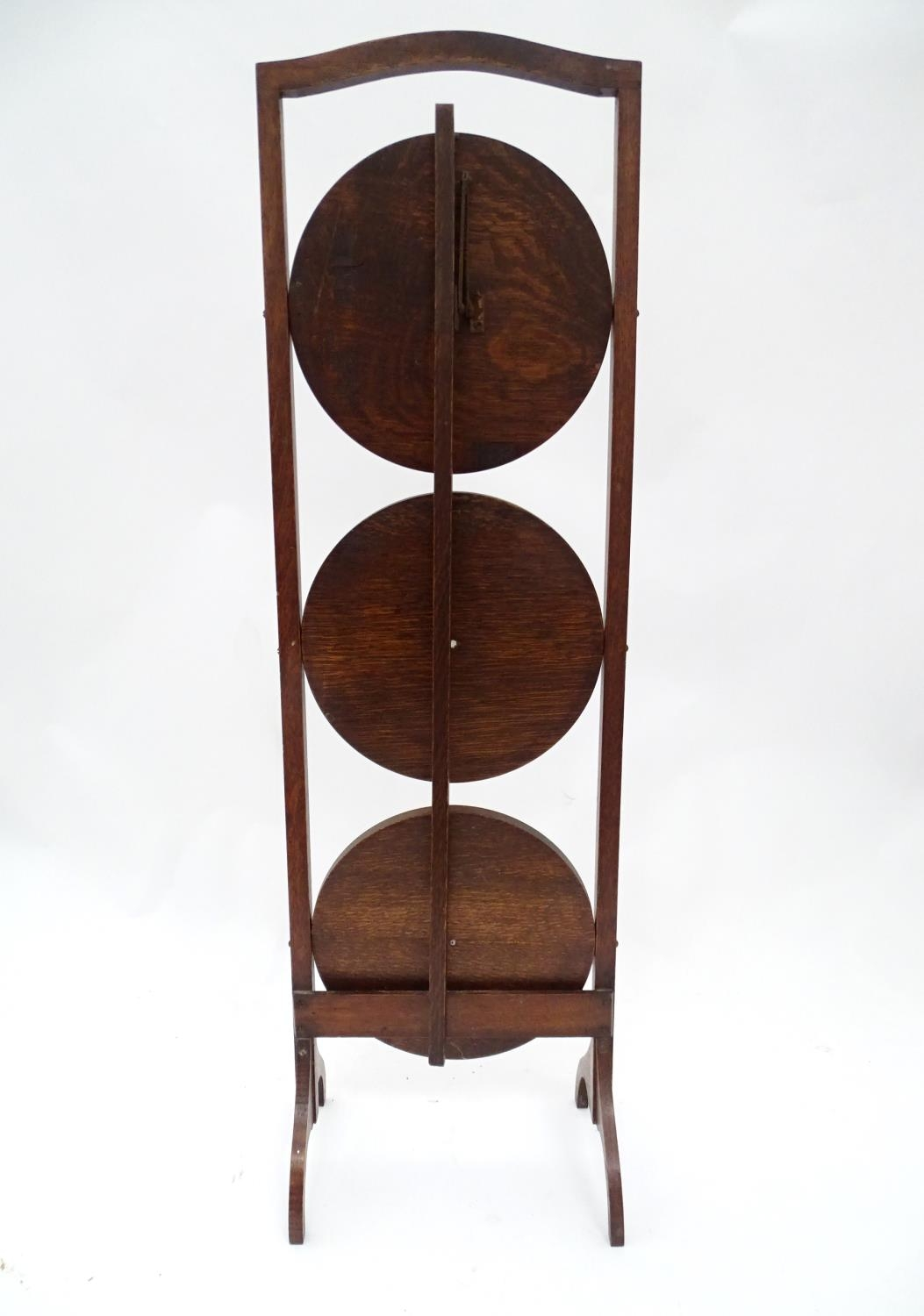 A 20thC three tier folding cake stand Please Note - we do not make reference to the condition of - Image 2 of 4