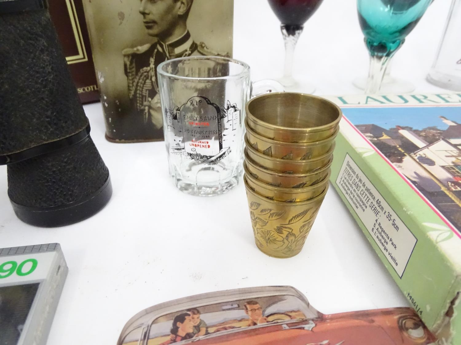 A box of miscellaneous to include novelty phone, drinking glasses, wine glasses, binoculars etc. - Image 2 of 12