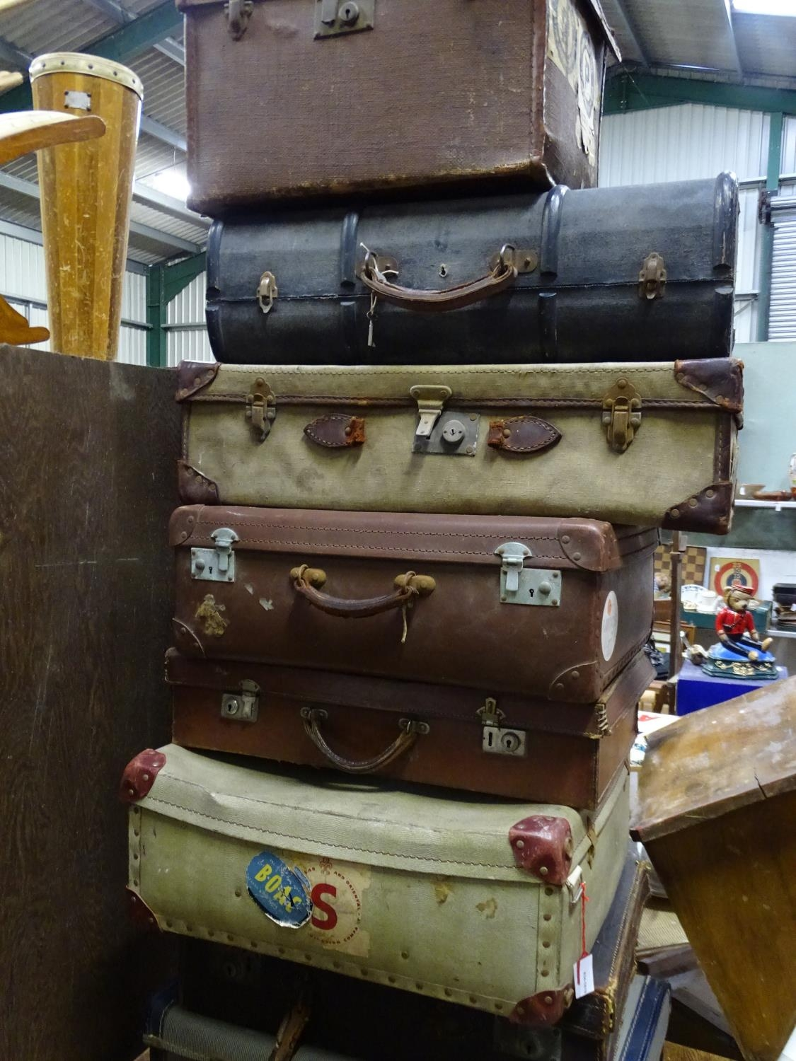 Eight vintage trunks / suitcases with old tourist labels (8) Please Note - we do not make - Image 2 of 3