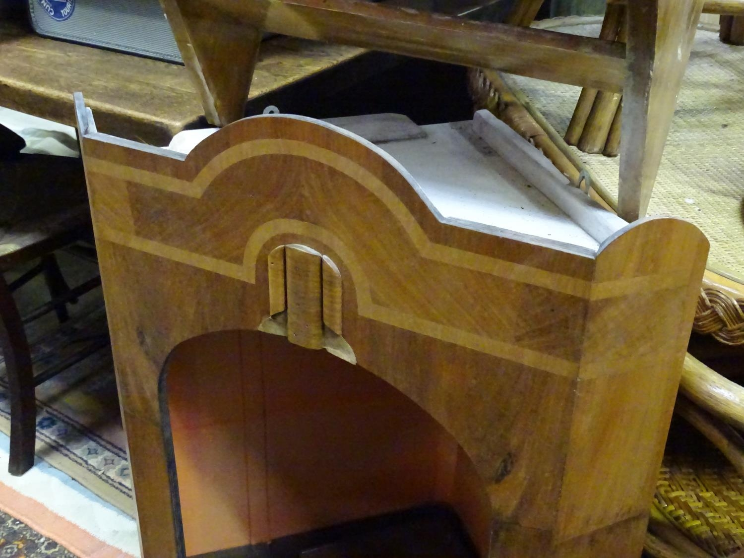 A bracket shelf with a single drawer. Together with a corner cupboard (2) Please Note - we do not - Image 3 of 7