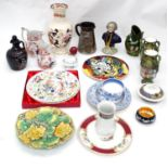 A quantity of assorted ceramics to include a bust of George Washington, Springbank Whiskey decanter,