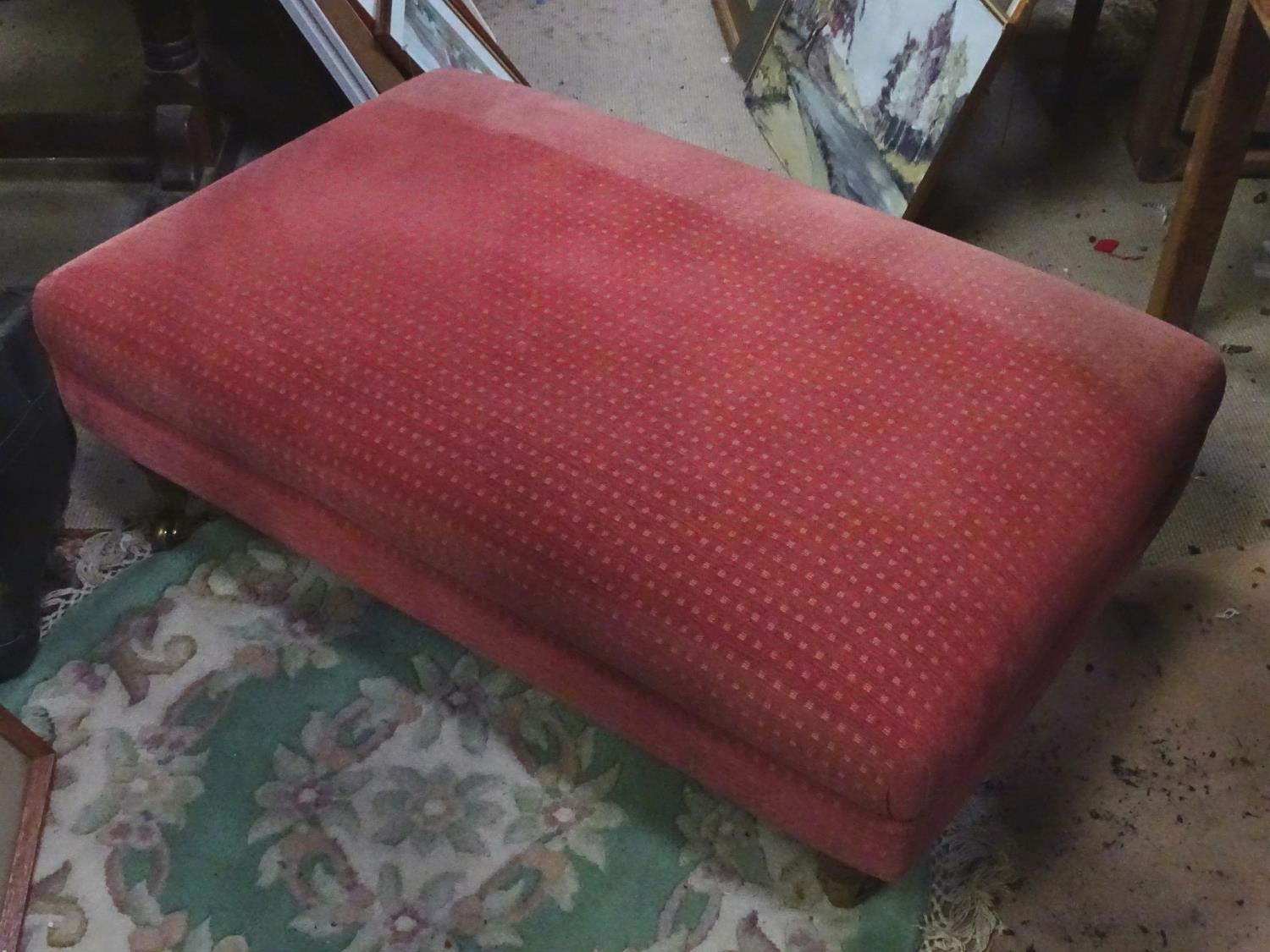 A large upholstered footstool on castors Please Note - we do not make reference to the condition - Image 6 of 6