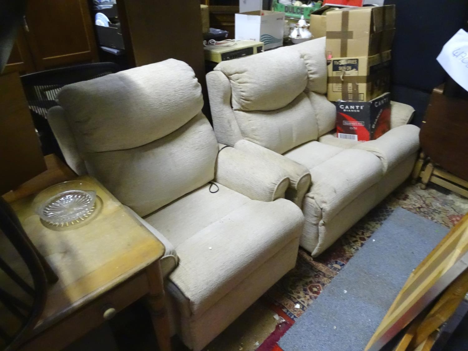 A Parker Knoll two seater sofa and reclining armchair (2) Please Note - we do not make reference