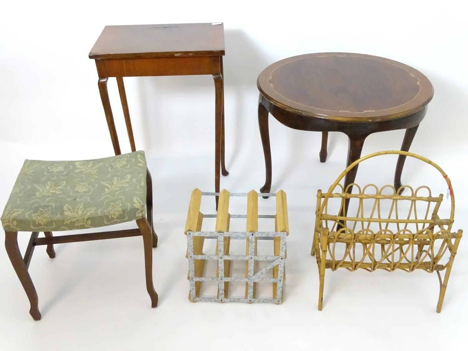 An assortment of furniture comprising wine rack, magazine rack, 2 occasional tables, and a stool (5)