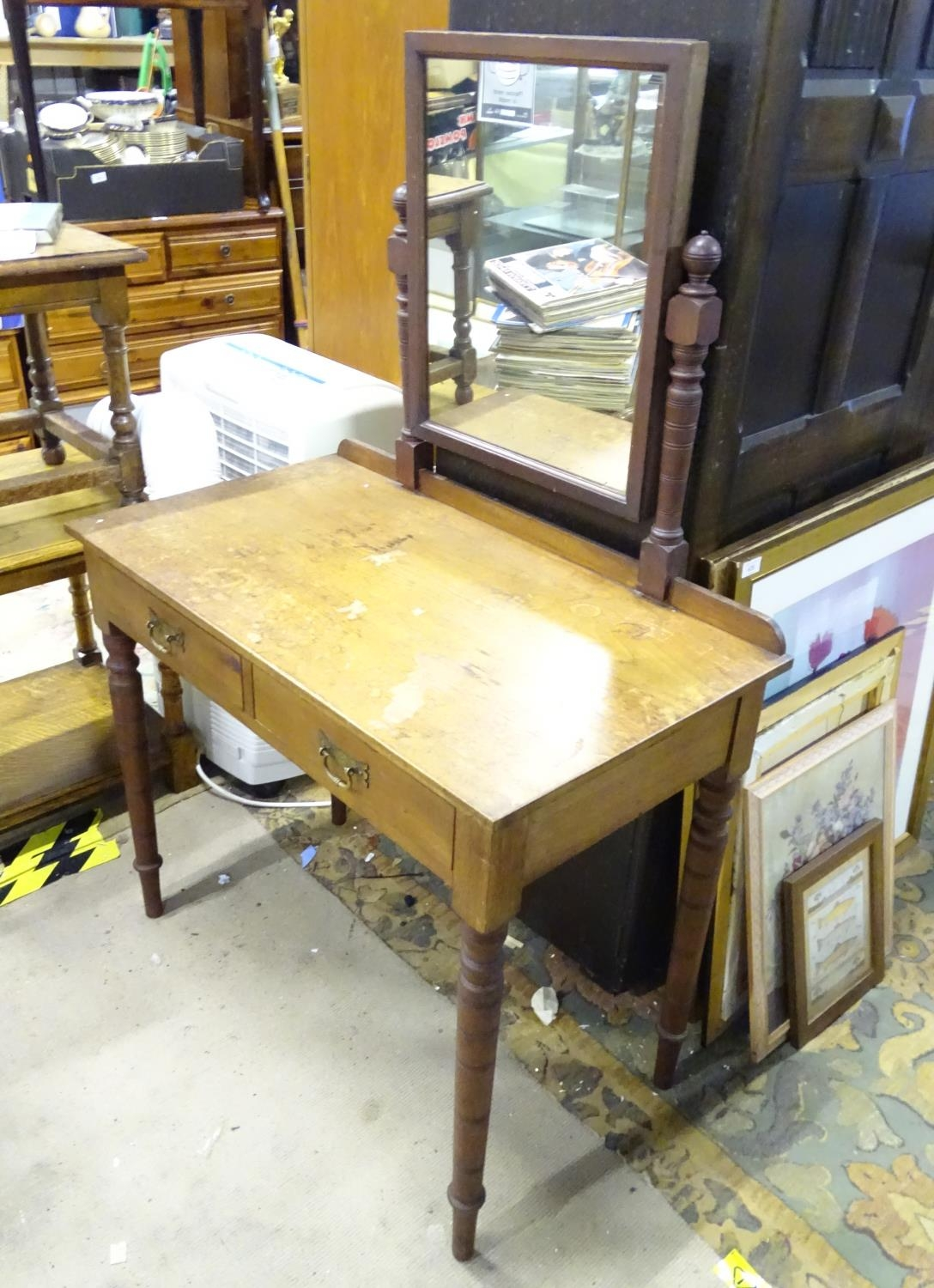 """A late 19th / early 20thC mahogany dressing table with two drawers and a mirror. Approx. 56"""" tall. - Image 7 of 7"""