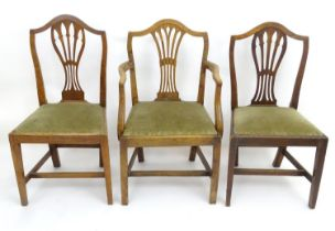 Three Georgian elm dining chairs (3) Please Note - we do not make reference to the condition of lots