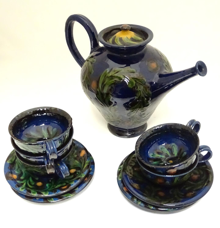 A quantity of Kahler Keramik Danish studio pottery tea wares, comprising a teapot and four cups - Image 2 of 30