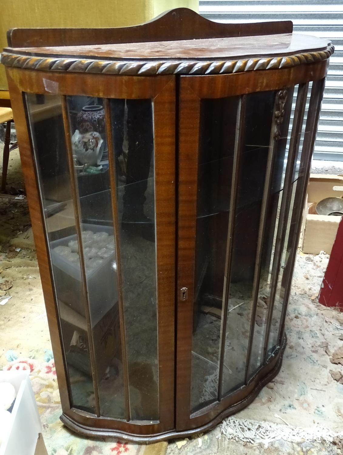 A demi lune glazed display cabinet Please Note - we do not make reference to the condition of lots - Image 3 of 4
