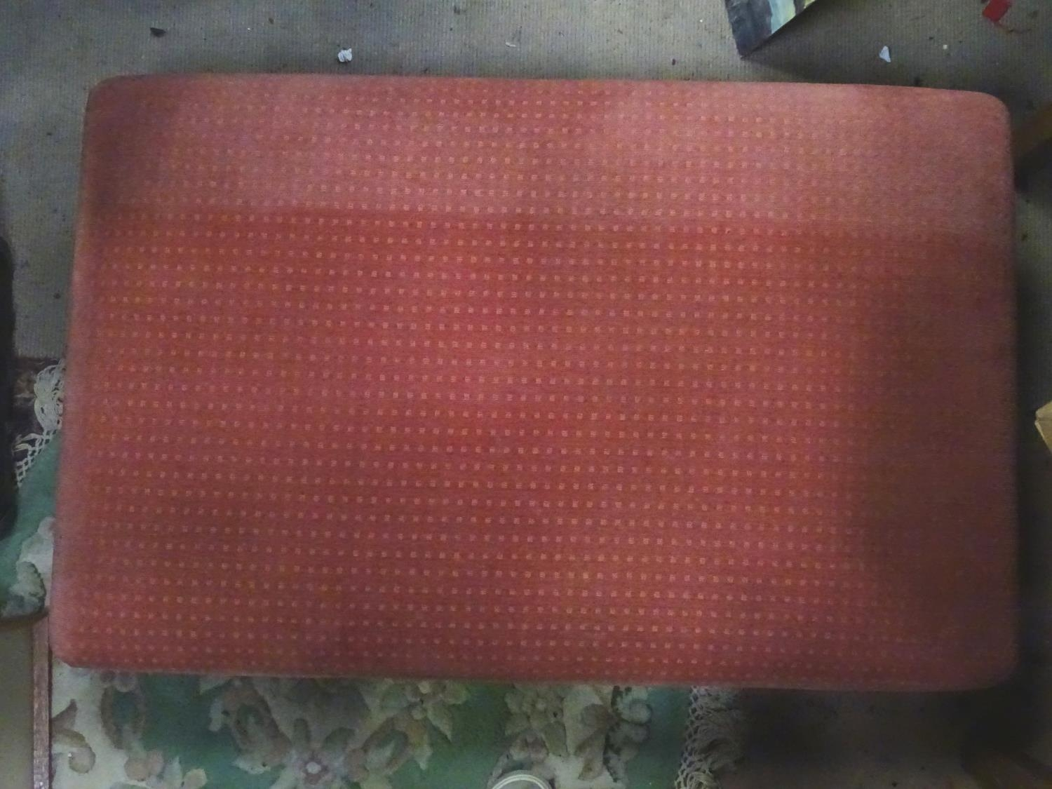 A large upholstered footstool on castors Please Note - we do not make reference to the condition - Image 4 of 6