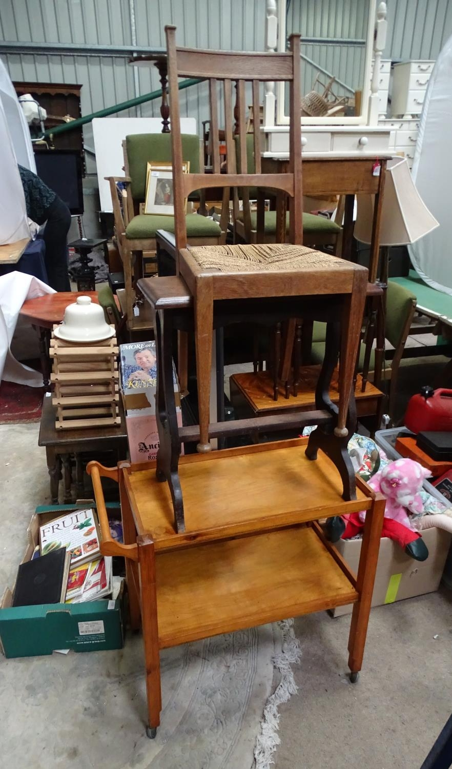 An Arts & Crafts dining chair, together with a stool, and a trolley (3) Please Note - we do not make