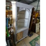 """A large white painted pine corner cupboard. Approx. 74"""" tall Please Note - we do not make"""