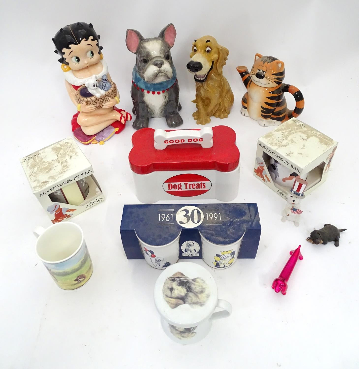 A quantity of assorted ceramic items to include biscuit barrel formed as a dog, two boxed Ansley