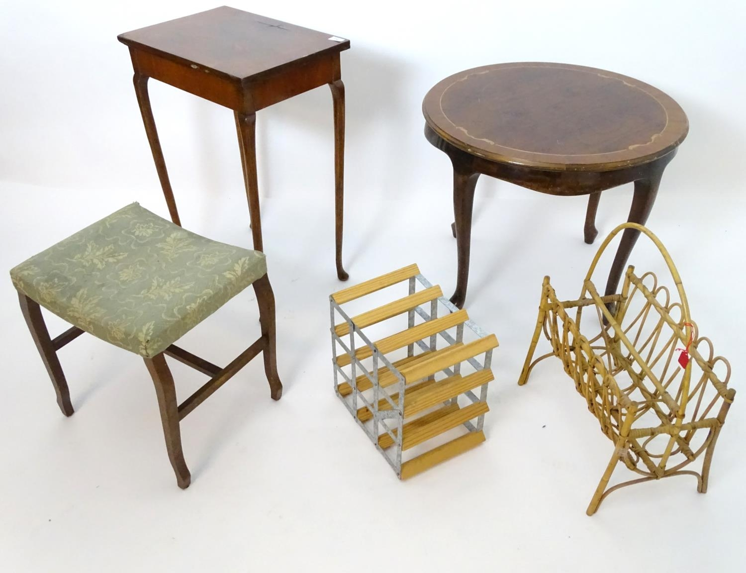 An assortment of furniture comprising wine rack, magazine rack, 2 occasional tables, and a stool (5) - Image 3 of 4
