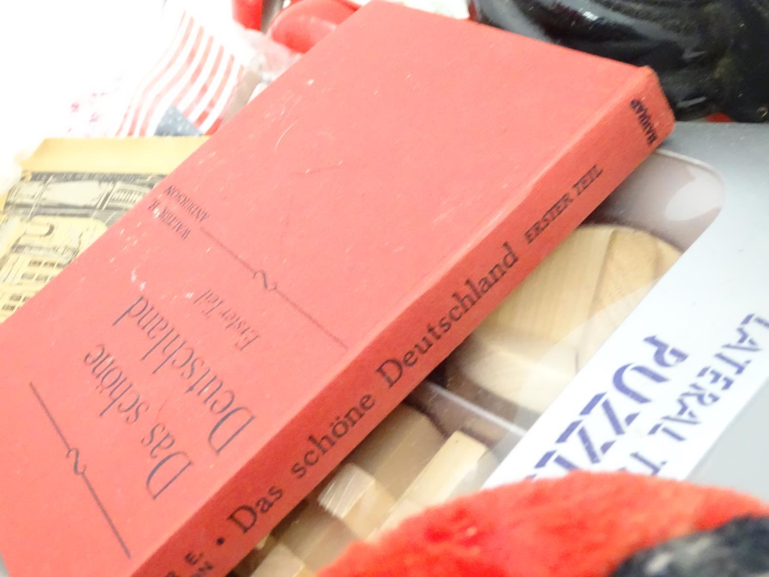 A box of miscellaneous items to include a large vanity case, scales, Mickey Mouse clock, etc. Please - Image 4 of 4