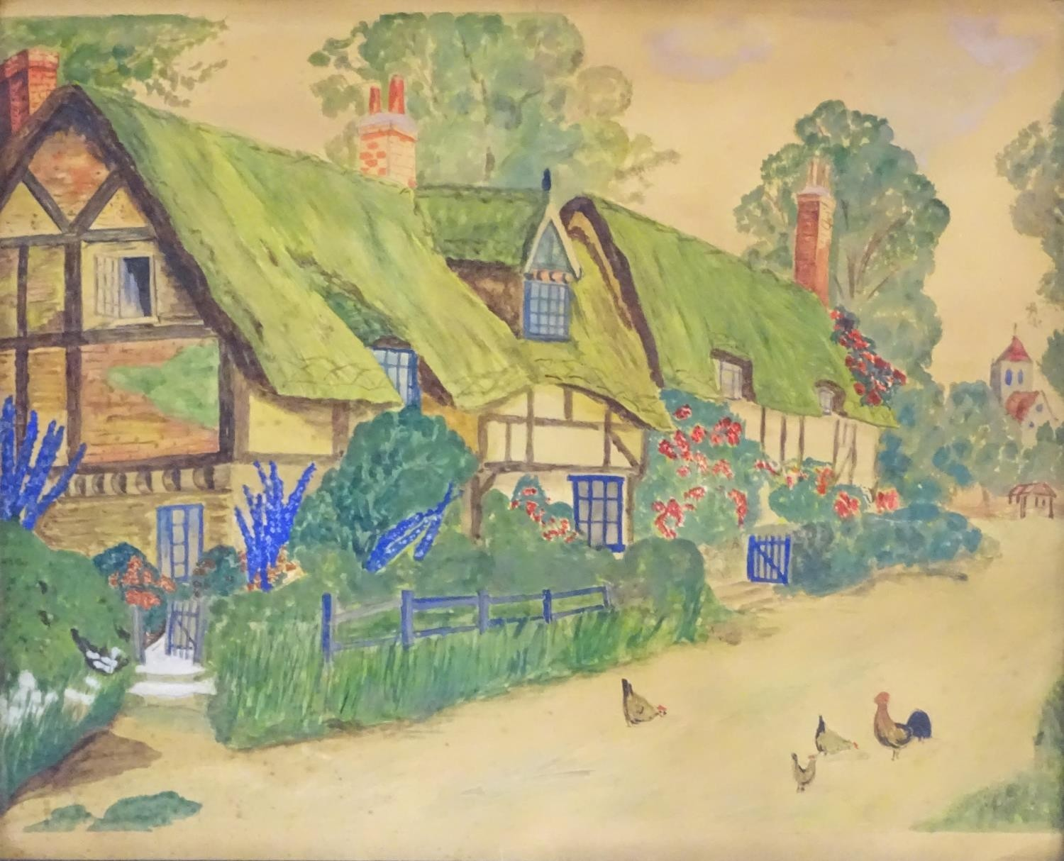 20thC, English School, Watercolour, A naive / folk art scene depicting a village with thatched - Image 3 of 4