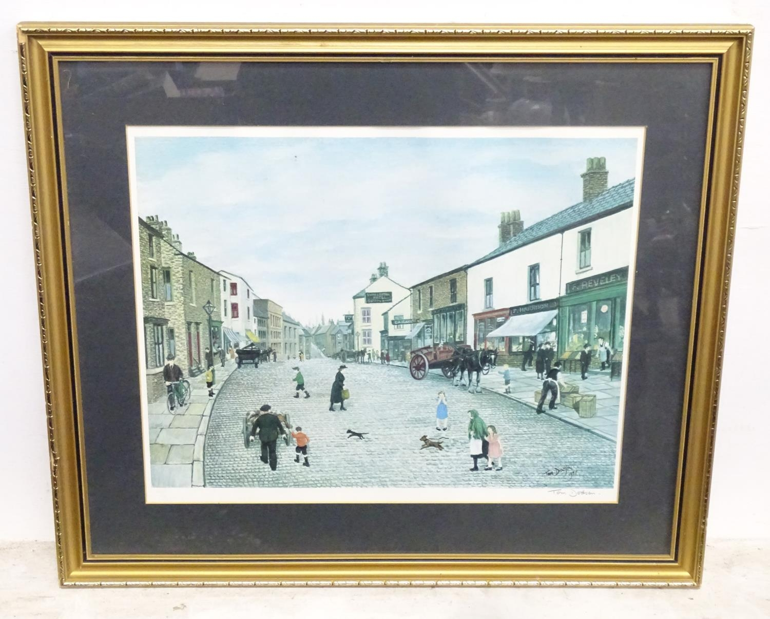 After Tom Dodson, 20th century, Limited edition coloured lithograph, The High Street Clitheroe,