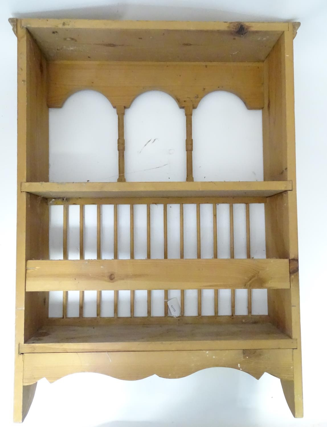A pine plate rack together with a three tier buffet (2) Please Note - we do not make reference to - Image 3 of 9