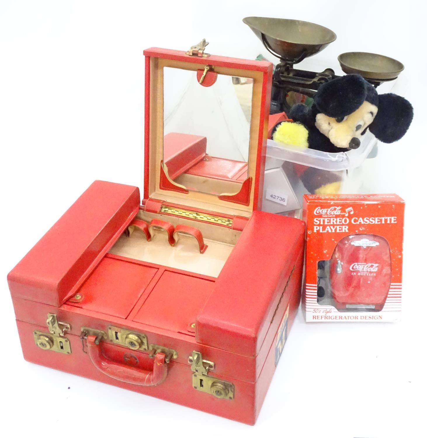 A box of miscellaneous items to include a large vanity case, scales, Mickey Mouse clock, etc. Please - Image 3 of 4