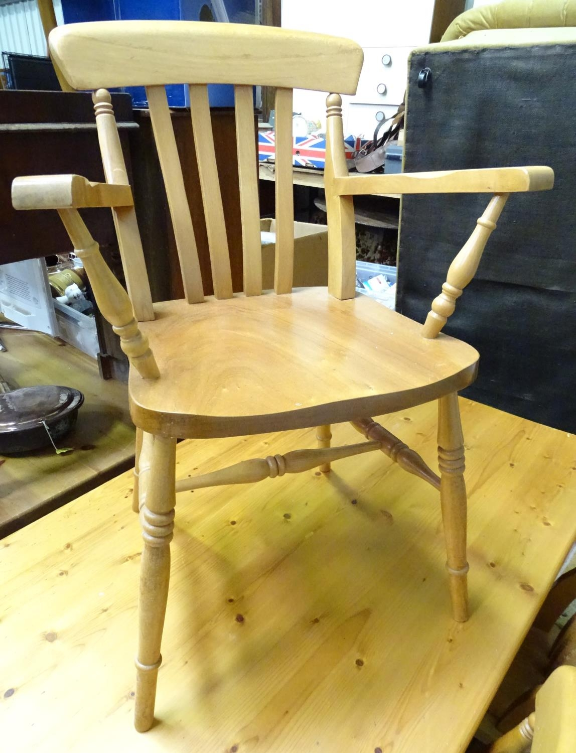 A pine dining table with 6 chairs Please Note - we do not make reference to the condition of lots - Image 3 of 5