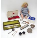 A quantity of assorted silver plate kitchenalia, together with a doll Please Note - we do not make
