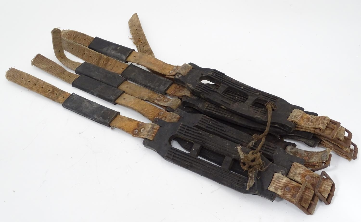 Three pairs of straps, marked For John Ball Snow Grip, Made in England. Please Note - we do not make
